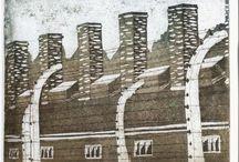 Zsidó témák / Zsidó temető, holokauszt emlékművek, Auschwitz - Mészáros Marianna rézkarcai