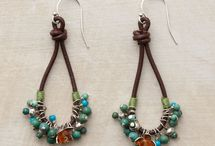 earings - leather & beads