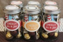 Gifts in a jar  / You can write faith energy r&r in a jar etc and fill it with cute little items!  Great idea