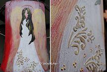 Anioły na drewnie / Ręcznie malowane anioły na drewnie. Obrazy wykonywane na zamówienie oraz z własnej inspiracji i twórczej weny :)  Farby akrylowe zabezpieczane werniksem lub lakierem.