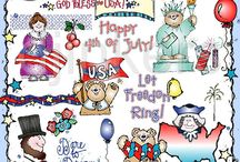 July! / July brings barbecues & poolside get togethers, fireworks, American pride and more fun in the sun!  Look here for: July clip art, July ideas, American clip art, patriotic clip art / by DJ Inkers