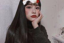 Coreanas - cabelo longo com franja