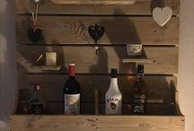 Wandbord wijnrek hout