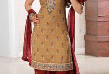 Brown Silk Indian Fashion Salwar Kameez with Dupatta