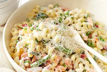 pasta dishes and salads
