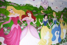 Disney Princess Murals / Beautiful Hand painted Disney Princesses and Magical Garden combined with Disney Castle & Butterflies