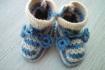 Hand knit babys booties