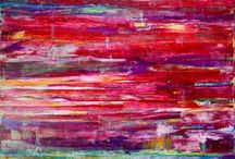 Abstract art mainly reds. / Abstract art which is primarily red or close colors like purple and pink.