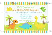 Cute Dinosaur Boy Birthday / This collection features cute dinosaurs on a green hill with daisy flowers and palm trees. There is a tyrannosaurus rex, brontosaurus, triceratops and pterodactyls. The colour palette consists of orange, turquoise blue, yellow and green.
