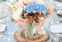 Hochzeitsdekoration Aprikot/Blau