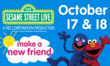Sesame Street Live: Make a New Friend - October 17-18, 2014 / Chamki is from far away and she's visiting Sesame Street for just one day! Grover has a long to-do list for his friend, from kayaking to hot yoga, but Chamki is busy enjoying cookies with Cookie Monster, singing with Abby Cadabby, and doing 'The Elmo Slide.' Will an appearance from Super Grover get Chamki's attention? Join the fun and make a memory with your friends and family!