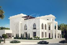 White Modern Islamic Villa Exterior Design - Jeddah, Saudi Arabia / In the modern Islamic villa exterior design, the facade is covered with white stone, which is decorated with Islamic and geometric patterns. The simple yet elegant design catches the eye of passersby. The elegance and intricate designs of the second floor, around the doors, windows, and edges, reflects the elegance of Islamic and Arabic architecture.