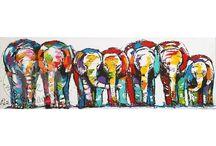 vrolijke schilderijen div. dieren