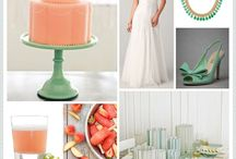 Peach and Mint / I am leaning heavily toward this color combination. The day he's going to propose is getting closer (he's let slip a few details...he is having my ring resized...he went to check on it the other day...)  Right now I just love peach and mint.  Or blush and sage.