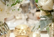 table flowers / low, loose arrangements, green & white mixed with lots of candle light and mercury glass.