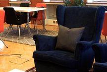 Boardman neuvottelutila / Toteutimme Kampin Huippuun Boardman Oy:lle yhdistetyn kokoustilan ja jäsenten olohuoneen. Kohteen toteutti kanssamme sisustussuunnittelija Henna Siponen Tilanne Designista.