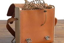 Wood leather bag