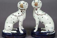Antique Staffordshire Dog Figures / Antique Staffordshire Pottery Dog Figures between 1780 - 1900