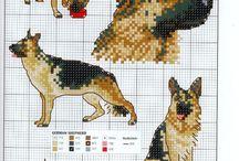punto de cruz, perros y gatos