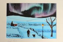 Northern lights inspired paintings / These art my paintings of the Aurora Borealis otherwise known as the Northern lights.