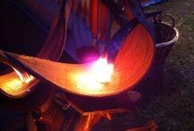 Lampe DIYS / Dekolampe zum nachbauen. Aus einem Deko-Bananenblatt und einem Trinkhorn gefertigt.