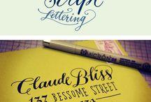 Hand Lettering / hand lettering, hand lettered signs, hand lettered envelopes, hand lettered details,