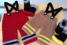 crochet baby fireman suite