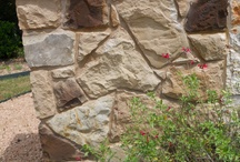 Flagstone, Sandstone, Marble Rock Wall Options  / Options for rock walls for Clark Wilson Builder homes in Austin, Buda, Georgetown, and Hutto, TX include various natural stone elements such as Flagstone, Marble, Sandstone, and Limestone
