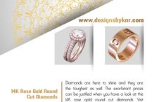 14K Rose Gold Round Cut Diamonds