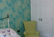 Fresh bedroom scheme / Using fresh limes, turquoise blues, yellows and patterns with a Indian continent feel to it.