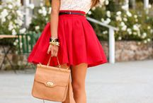 RED SKIRT / RED SKIRT OUTFIT