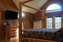 Cabin Master Bedroom / The Sacred Winds Cabin Rental at Yatesville Lake State Park in Eastern Kentucky is a 5 Star Premier Cabin on nearly 3 acres.  The master bedroom is filled with custom Amish made cedar log furniture including the King Size bed.