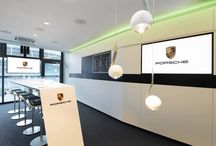 CULTURE: RB Skylounge by Porsche at the Leipzig stadium / Our luminaires Più Piano and io sospeso harmonise perfectly with the innovative corporate design of Porsche's new RB Skylounge in the Leipzig Stadium.. Client: Porsche Leipzig AG  Lighting design: Hannah Hölzl