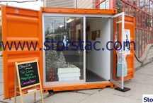 20' Retail Shop/Kiosk - Modified Shipping Container / This board features a 20' single-unit retail shop/kiosk constructed out of an ISO shipping container. This unit is fully insulated, has lights and electrical outlets, and is an inexpensive alternative to starting a small business with a brick and mortar retail location. These retail shops/kiosks are easily relocatable and extremely cost effective. They also make great pop up shop locations because they can be easily relocated, and are inexpensive to produce.