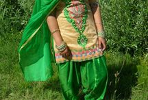 green patiala suit / green and peach colors fab & perfect suit on a punjaban