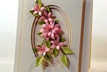 Pink flower with oval cutout card