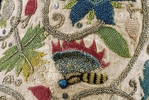 Historical embroidery / Some may be period or reproduction pieces.