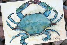 sea creatures watercolor