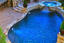 fireplace pool area