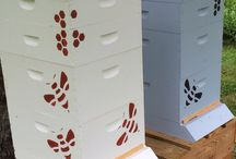 Homemade Stencils / We designed our own stencil in order to decorate our bee hives.