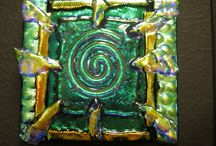 Dichroic pictures/tiles and my own paintings ++ made by me / My own art work- Lisbeth Mellebye