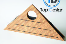 Triangle Wooden Purse - zebrano / The Triangle Wooden Purse has been selected by the jury of TOP DESIGN 2016.  Dimensions: (Width) 430mm x (Height) 210 mm. Weight: 530gr.