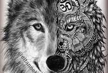 wolf tattoo lineart animal spirit animal