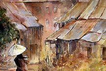 evelyne Germain-Lacour watercolors / aquarelles