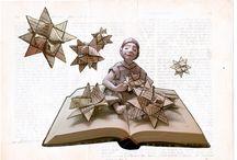 Weihnachtskarten / Weihnachtskarten für Bücherwürmer und Büchersüchtige: Book Art Karten zu Weihnachten, als Geschenk Karte oder als Buchgutschein. Handgemachte Briefumschläge aus alten, zerliebten Buchseiten.