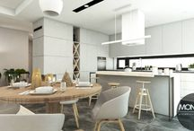 Przestronny salon z kuchnią w nowoczesnym stylu / Projekt przestronnego salonu z kuchnią i jadalnią. Wszystko utrzymane w nowoczesnym stylu, w którym najważniejsza jest funkcjonalność. Poszczególne pomieszczenia na otwartej przestrzeni zaznaczone zostały poprzez zróżnicowany materiał zastosowany na podłodze.