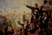 El Salvador  / Painting of the First Independence Movement celebration in San Salvador. At the center, José Matías Delgado