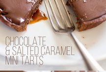 Chocolate and caramel tarts