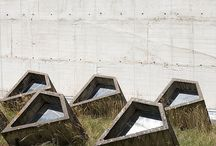 brutalism, concrete prisms, architecture, skylights, planted roof