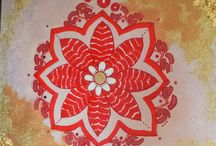 Mandala art -red gold mandala / Mandala art: Paintings on canvas-Pink shadows